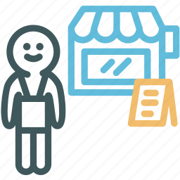 grocer, grocery, human, resource, selling, shopkeeper, store icon