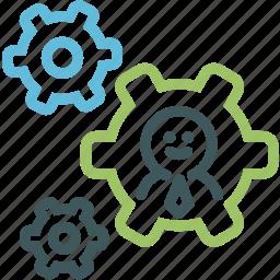 businessman, businessman settings, human, professional, resource, service, setting icon