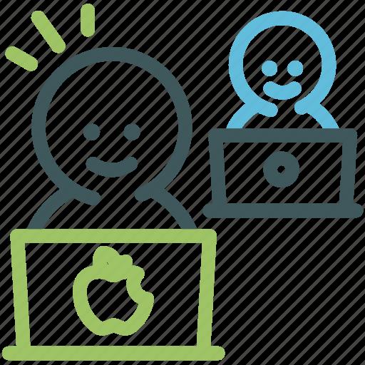 human, idea, laptop, office, resource, teamwork, worker icon