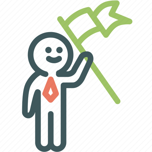 businessman, flag, human, human resource, resource, success, winner icon