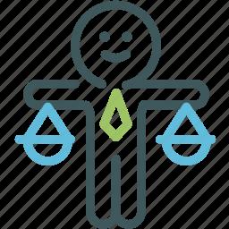 balance, business man, fair, human, judge, justice, resource icon