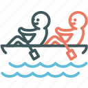 boat, canoe, human, paddle, resource, rowing, teamwork icon