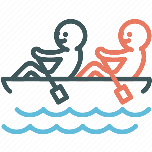 boat, canoe, human, paddle, resource, rowing, teamwork icon