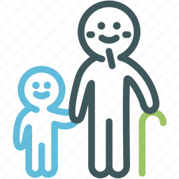 family, grandfather, grandfather and granddaughter, human, man, people, resource icon