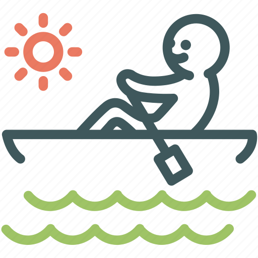 camping, canoe, holiday, human, paddle, resource, travel icon