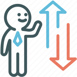 broker, business, business man, human, investor, resource, stocks up and down icon