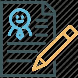 cv, editing, pencil, profile, resource, resume, resume writing icon