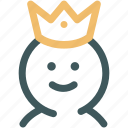 crown, human, king, monarch, queen, resource, throne icon
