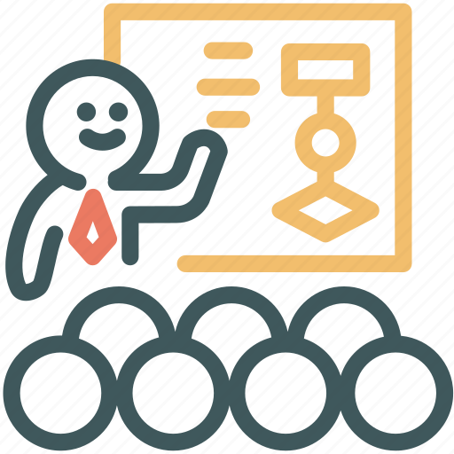 discussion, human, meeting, presentation, resource, slide, teacher icon