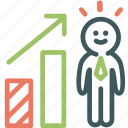 businessman, human, improvement, progress, promotion, resource icon