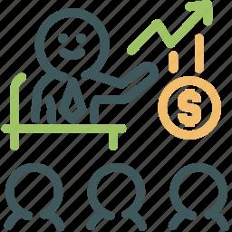 broker, human, invest, investor, presentation, resource, start up business icon