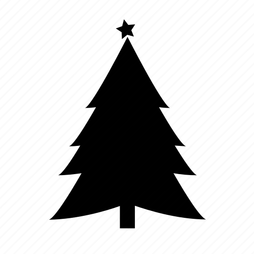 christmas tree, fir tree, new year, star icon