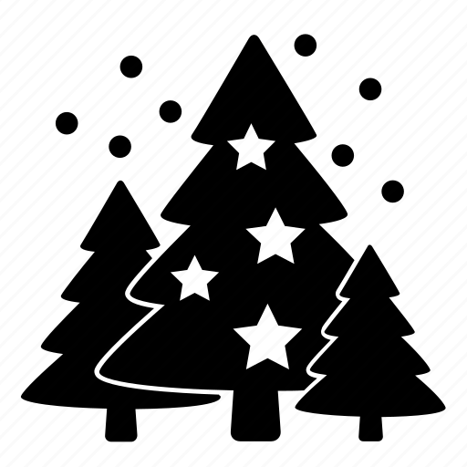 christmas, fir trees, new year tree, snow, spruce, stars, winter icon