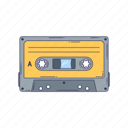 cassette, device, hardware, magnetic tape, technique icon