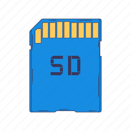 card, device, hardware, memory, sd, technique icon