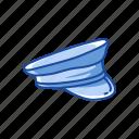 barracks cover, cap, captain hat, fashion, forage cap, hat, officer hat icon