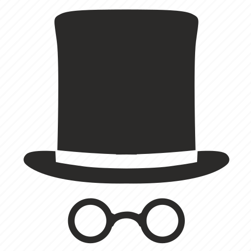 cylinder, fashion, gentleman, glasses, hat icon