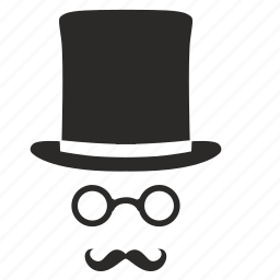 cylinder, gentleman, glasses, hat, mustache icon