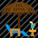 beachfood, chair, holidays, table, umbrella
