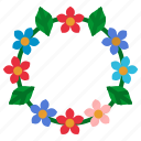 cultures, flowers, hawaii, necklace, summer icon