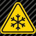 cold, danger, hazard, snow, snowflake, warning, winter