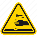 acid, attention, corrosive, danger, death, hazard, warning icon