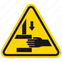 harming, hazard, danger, squash, danger of harming, crush, warning icon