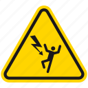 attention, danger, death, electric shock hazard, hazard, shock, warning icon