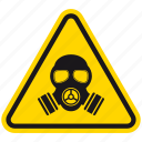 attention, danger, gas mask, hazard, radiation, toxic, warning icon