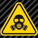 attention, hazard, danger, radiation, warning, toxic, gas mask