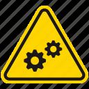 attention, danger, gearwheels, hazard, sprocket, warning, wheels