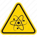 particles, protons, hazard, danger, warning, electrons, neutrons