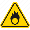 hazard, danger, oxidising, warning, burning, flame, burn