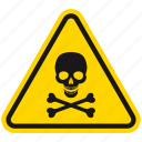 bones, danger, death, hazard, skeleton, skull, warning icon