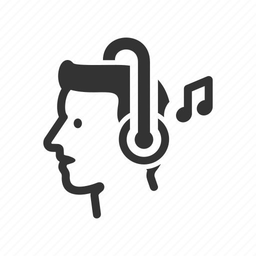 avatar, head, headphones, listen, music, person icon