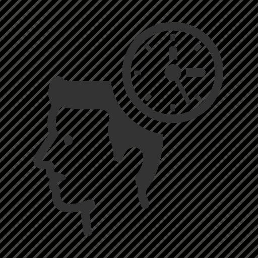 avatar, clock, head, schedule, time, work icon