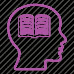 book, brain, creative, education, head, mind, school icon