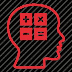 brain, calculating, calculator, education, head, maths, mind icon