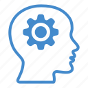 brain, cogwheel, creative, gear, head, mind, productivity icon