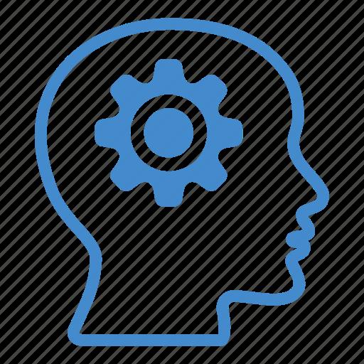 brain, cogwheel, creative, gear, head, mind, productivity icon