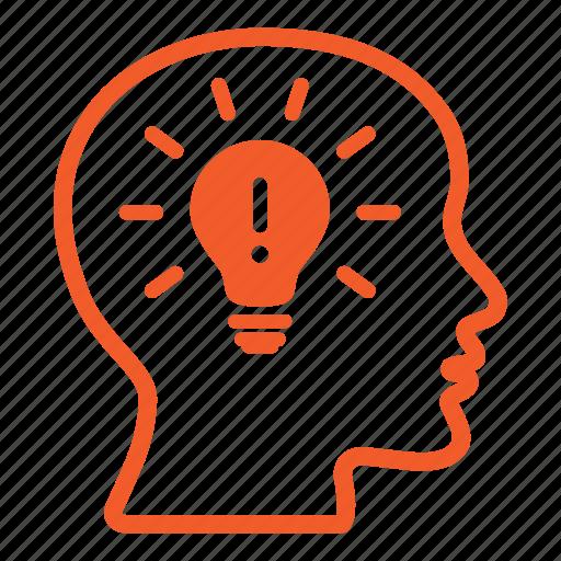 bald, bulb, creative, head, ideas, lightbulb, male icon