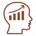 brain, business, chart, finances, head, presentation, statistics icon