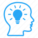 bald, bulb, creative, design, head, ideas, lightbulb icon