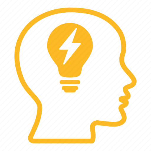 bald, bulb, creative, energy, head, lightbulb, power icon