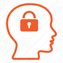 brain, head, lock, mind, padlock, people, security icon