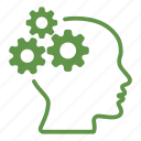 brain, cogwheel, creative, gears, head, mind, productivity icon