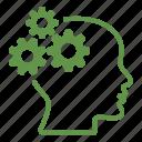 head, brain, cogwheel, creative, gears, mind, productivity