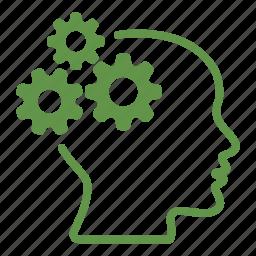 brain, cogwheel, creative, gears, head, mind, productivity icon