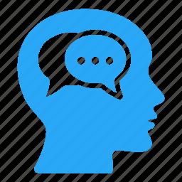 bald, brain, head, males, mind, speech bubble, thinking icon