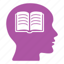 book, brain, creative, education, head, reading, school icon